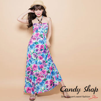 Candy 小舖 珠飾繞頸 繽紛塗鴉 幾何印花 洋裝 ( 黑 / 赭色 / 藍 ) 3色選