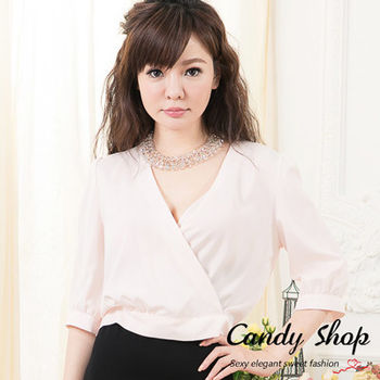 Candy 小舖 性感深 V 五分袖 綁帶上衣 ( 白 / 黑 / 淺粉 ) 3色選