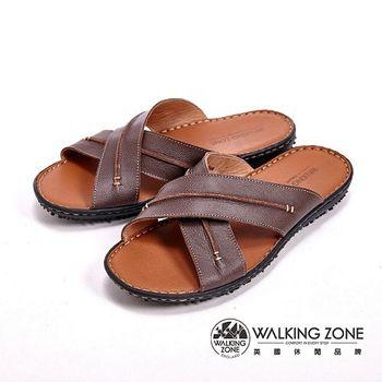 WALKING ZONE 春夏新款 平底鞋交叉涼鞋休閒款 男鞋-咖(另有藍)