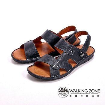 WALKING ZONE 真皮厚底軟墊設計涼拖鞋 男鞋- 黑(另有咖)