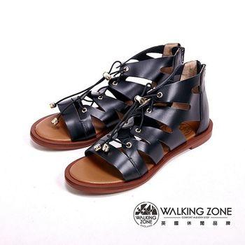 WALKING ZONE 經典層次內真皮羅馬涼鞋 女鞋-黑(另有棕)