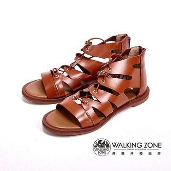 WALKING ZONE 經典層次內真皮羅馬涼鞋 女鞋-棕(另有黑)