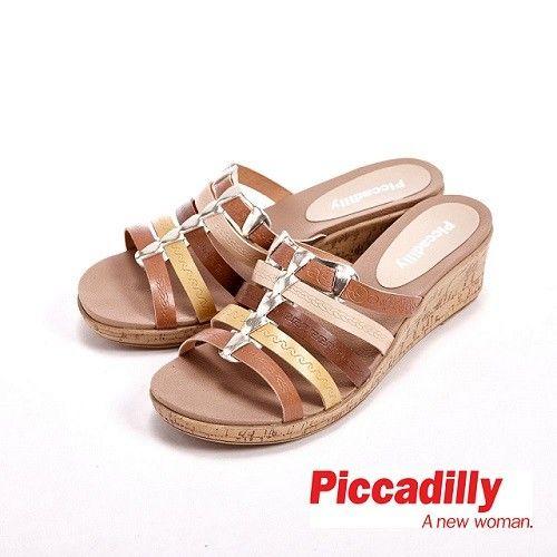 Piccadilly 多層次綁帶編織 楔型拖鞋 女鞋-棕(另有藍)