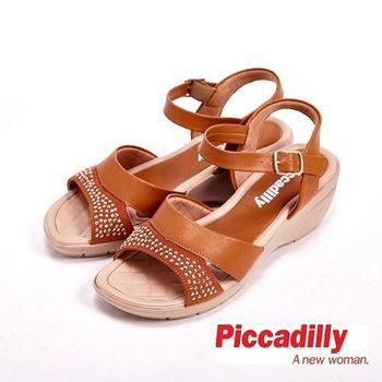 Piccadilly 貼鑽寬帶設計環扣式女鞋 涼鞋-棕(另有灰)
