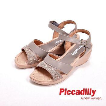 Piccadilly 貼鑽寬帶設計環扣式女鞋 涼鞋-灰(另有棕)