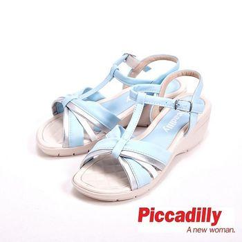 Piccadilly 馬卡龍色優雅蝴蝶結環扣式女鞋 涼鞋-藍(另有橘)