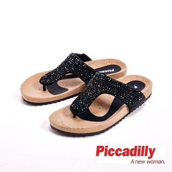 Piccadilly 水鑽設計平底夾腳拖鞋女鞋 黑(另有銀)