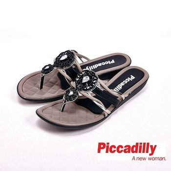 Piccadilly 貼鑽平底夾腳拖鞋 女鞋 黑(另有黃、橘)