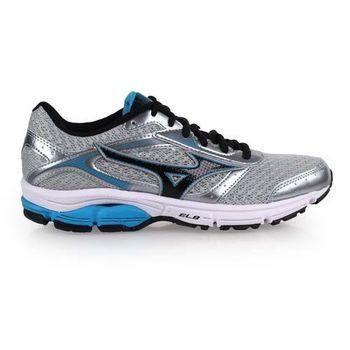 【MIZUNO】WAVE IMPETUS 4女慢跑鞋 - 路跑 美津濃 灰藍黑