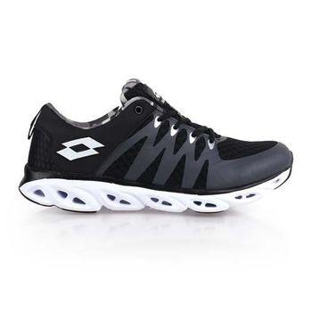 【LOTTO】VENTI男風動輕量跑鞋-路跑 慢跑 健身 黑灰白