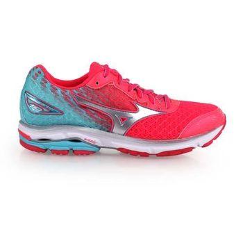 【MIZUNO】WIDE WAVE RIDER 19 女慢跑鞋 寬楦 螢光粉湖水綠