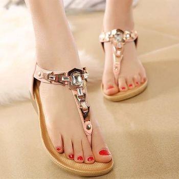Dingle - 春夏新款 優雅水鑽閃金楔型涼鞋