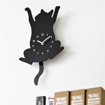 日本MAKINOU 趣味爬牆貓咪剪影搖擺鐘/掛鐘