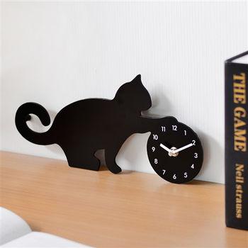 日本MAKINOU 玩耍貓咪剪影造型壁鐘/掛鐘