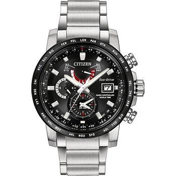 CITIZEN 星辰 極光流星雨時尚光動能電波優質腕錶-黑-AT9071-58E