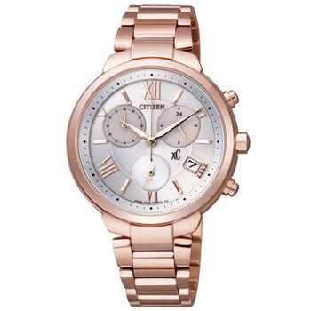 CITIZEN XC 真愛人生鈦金屬光動能計時腕錶-玫瑰金-FB1332-50A