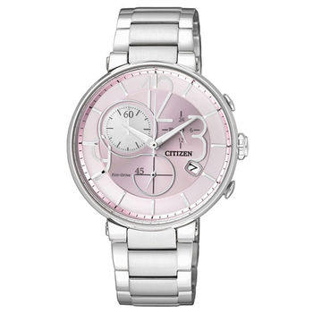 CITIZEN Eco-Drive 最佳曲線雕塑時尚優雅計時腕錶-粉色面-FB1200-51X