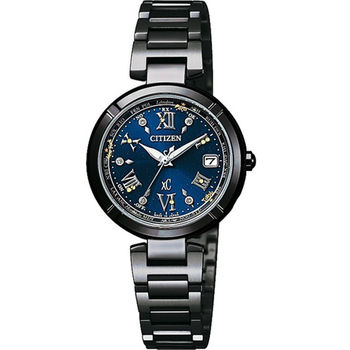 CITIZEN XC系列 幸運嫵媚女神降臨電波時尚優質腕錶-黑-EC1116-56L