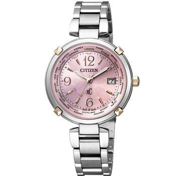 CITIZEN XC 優雅樂聲共鳴時尚電波女性腕錶-粉紅-EC1044-55W