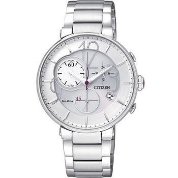 CITIZEN Eco-Drive 最佳曲線雕塑時尚優雅計時腕錶-白-FB1200-51A