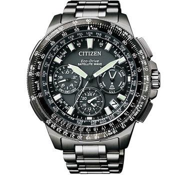 CITIZEN 光動能GPS衛星對時精密測量優質腕錶-全黑-CC9025-51E