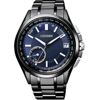 CITIZEN GPS衛星對時首選之最光動能優質腕錶-黑+藍-CC3015-57L