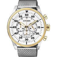 CITIZEN Eco ^#45 Drive 航道新方向計時 腕錶 ^#45 白色米蘭帶