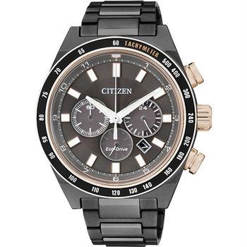 CITIZEN 光動能 黑影舞者三眼計時優質腕錶-黑-CA4207-53H