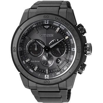 CITIZEN 光動能 暗黑支配者三眼計時優質腕錶-黑-CA4184-81E