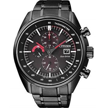 CITIZEN 光動能競速元氣小子計時優質運動腕錶-全黑-CA0595-54E