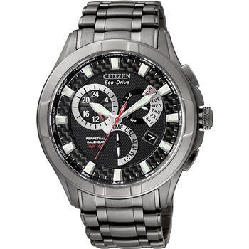 CITIZEN Eco-Drive 終極相對論兩地時間光動能優質腕錶-黑-BL8097-52E