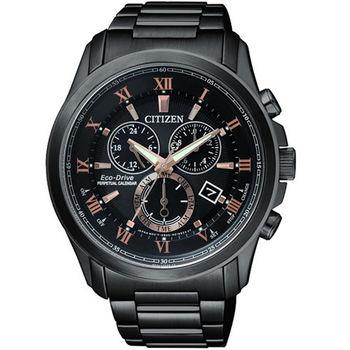 CITIZEN 亞洲限量版黑炫風使者光動能時尚腕錶-黑+玫瑰金-BL5545-50E