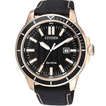CITIZEN 光動能 時光機旅行優質男性運動腕錶-黑帆布-AW1523-01E