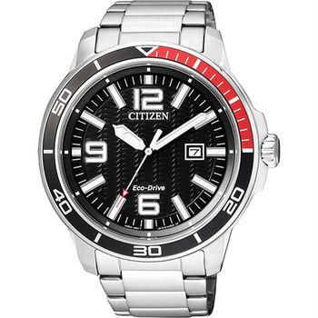 CITIZEN 光動能 時光機旅行優質男性運動腕錶-黑-AW1520-51E