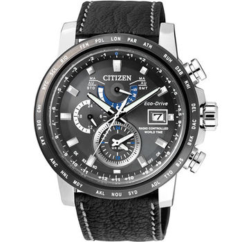 CITIZEN Eco-Drive 極地暮光時尚電波優質男性腕錶-黑皮革-AT9071-07E