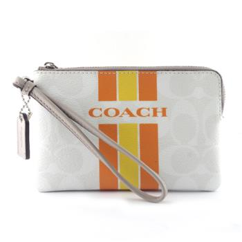 COACH  新款 彩虹條紋防刮皮革手拿包-白/橘