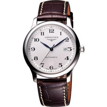 LONGINES Master 巨擘系列機械腕錶-銀x咖啡色錶帶/42mm L28934783