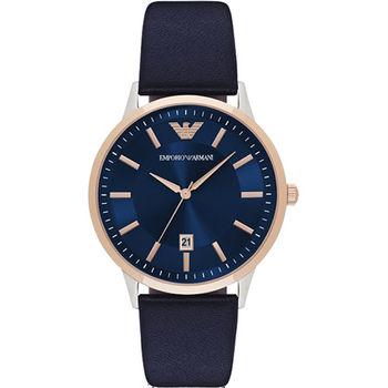 Emporio Armani Classic 都會時尚石英腕錶-藍x玫塊金x黑/43mm AR2506