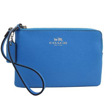 COACH 53429 馬車LOGO烙印防刮全皮革零錢包/手拿包.藍