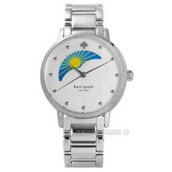 kate spade / KSW1075 / 精緻品味月相圓珠不鏽鋼手錶 銀色 34mm