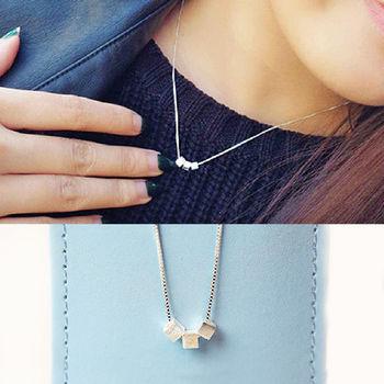 ArFFi 艾菲 925純銀簡約霧面小方塊項鍊