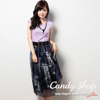 Candy 小舖 兩件式短T 圖案設計長裙 ( 藍 / 紫 ) 2色選