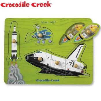 【美國Crocodile Creek】寶寶木製拼圖(太空世界)