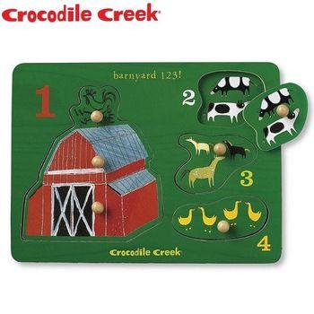 【美國Crocodile Creek】寶寶木製拼圖(歡樂農場)