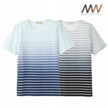 《摩搭衣櫥 MMWardrobe》漸層條紋圓領T-shirts