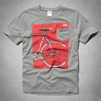 AF 男裝  KID腳踏車單口袋短T恤(灰)-童版