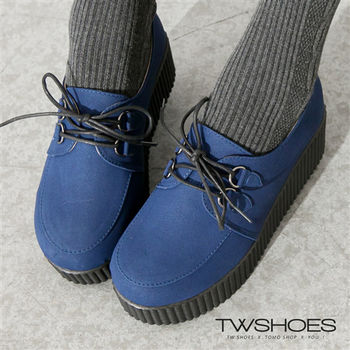 【TW Shoes】經典素面綁帶休閒鞋厚底鬆糕鞋(K130I1428)