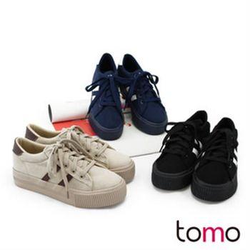 【TOMO】雙線絨布綁帶厚底休閒鞋(K134IEQ018)