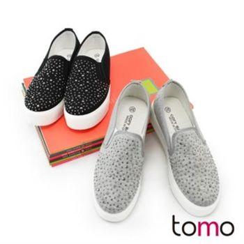 【TOMO】素色帶鑽厚底懶人鞋(K160IF1012)
