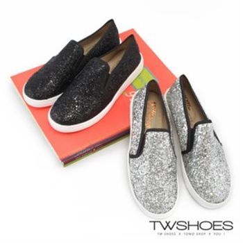 【TW Shoes】經典韓風金蔥設計平底休閒鞋(K110A2848)